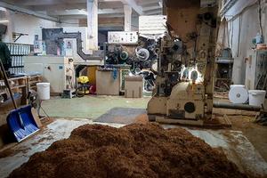tytoń w fabryce, w tle maszyny