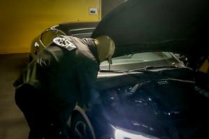 Funkcjonariusz sprawdzający pole numerowe pojazdu.